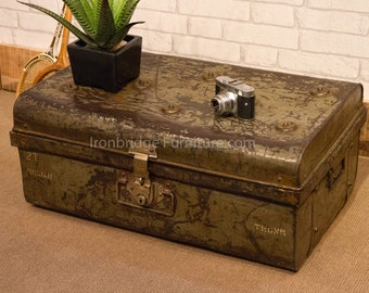 Old distressed metal travel trunk suitcase - Green and Browns (no.4)