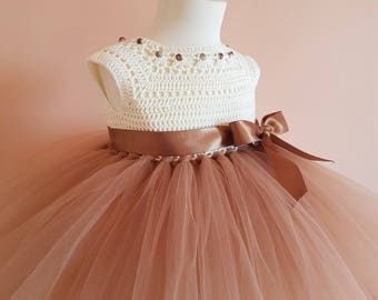 tutu dress,brown tutu dress, wedding dress, flower girl dress, bridesmaid dress, crochet dress, baptism dress, crochet yoke dress,