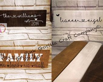 Freestanding Personalised Family Name Plaque/Sign