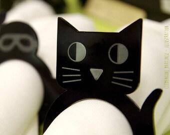 'Cat' - set of 4 - original - black napkin rings, wood