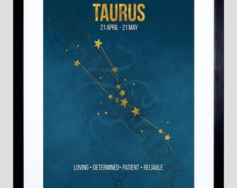 Zodiac Star Sign Birthday Astrology Blue Taurus Framed Wall Art Print F12X11650