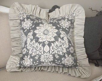 """26"""" gray and charcoal floral damask pillow cover w/ 4"""" gray ticking finished ruffle"""