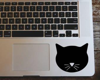 Black cat face decal sticker