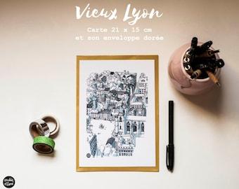 "Grande carte postale ""Vieux Lyon "", Big Postcard "" Old Lyon"", carte de voeux, greeting card"