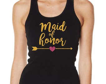 Hens Night Bachelorette Bridal Shower Glitter Iron On Transfer - Maid of Honor with Arrow