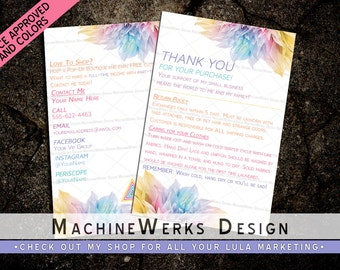 "LuLa Thank You Care Cards 4""x6"" LLR Care Cards • Home Office Approved Fonts and Colors • LuLa Marketing Materials Roe • LLR • MachineWerks"