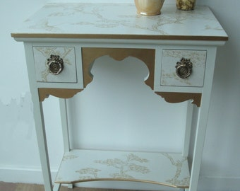 Ivory and Gold Chinoiserie Side / Console Table