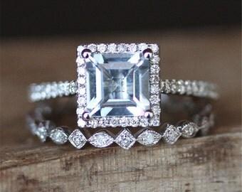 Aquamarine Ring Set VS 6mm Princess Cut Aquamarine Engagement Ring Set Stack Art Deco Full Eternity Wedding Ring Set 14K White Gold Ring Set