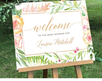 Baby Shower Welcome Sign Template | Printable | Editable Welcome Sign | Peach Florals | Instant Download | Digital File 8x10 & 18x24 #036WS