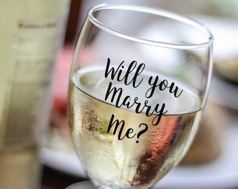 Wine Glass Decals - Will you Marry me? | Custom vinyl decals | Proposal | Pop the question | Bridal party Gifts | Wedding Wine glass