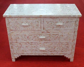 Roomattic EXCLUSIVE: Mother of Pearl Inlay White Chest of Drawers, Mother of Pearl Inlay Dresser