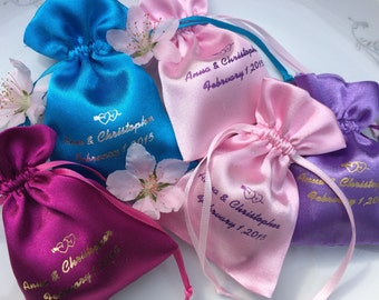 25 Personalized Satin Favor Bags Wedding, Birthday, Baby Shower, Baptism, Anniversary