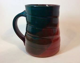 pottery mug, stoneware mug, brown mug, fall mug, ceramic mug, pottery mug, green  mug, coffee mug, orange cup, coffee cup, tea cup,