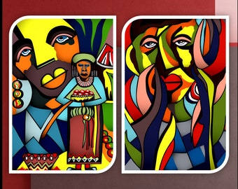 African Art/Modern Art/Black Artwork/African Paintings/African Drawings/African Style/Living Room/Bedroom, Abstract/Bright Colors