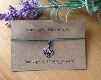 Teaching is a work of heart bracelet