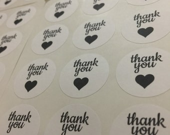Black Thank You Stickers (120 pieces)