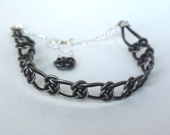 choker - leather ropes - handmade - black and grey