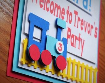 Train Birthday Welcome Door Sign - Choo Choo - All Aboard - Train Party