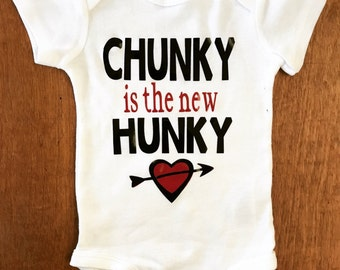 My Firtst Valentines Day Chunky is the New Hunky Bodysuit, Baby Shower Gift, Baby Valentines Day, Love, Bodysuit Heart
