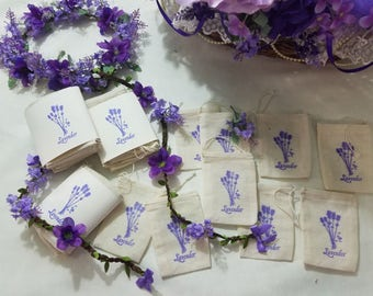 Empty Lavender Sachet Bags, 3 x 5 Cotton Muslin Drawstring Bags Hand Stamped with Lavender Flower Emblem, Set of 10