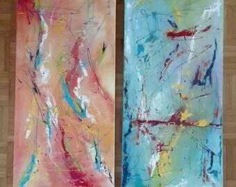 Acrylic-image set. modern 2 x 40/80/4 cm. Freestyle turquoise/orange