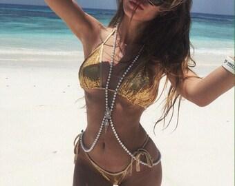 Gold Swimsuit, Swimwear, Sexy Swimsuit, Silver Swimsuit, Sexy Bikini, Brazilian Bikini, Festival Bikini, Womens Swimsuit Beach Wear G-String