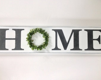 Home wreath sign,rustic,shabby chic,boxwood wreath,distressed sign,home decor,wall decor,housewarming gift,mother's day gift