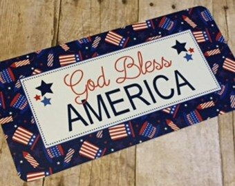 Patriotic Sign - Fourth of July Sign - God Bless American Sign - Wreath Sign - Aluminum Sign - Wreath Attachment - Wreath Accent