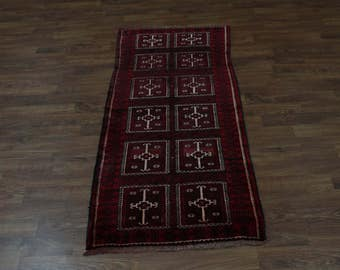 Rich Gallery Red Tribal Runner Balouch Persian Oriental Area Rug Carpet 3'6X8'