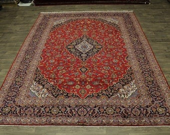 Great Shape Handmade Ghotbi Signed Kashan Persian Rug Oriental Area Carpet 10X13