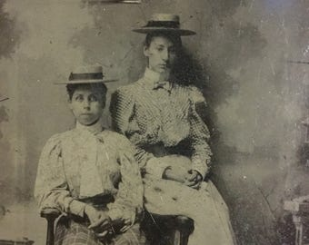 19th century ferrotype / tintype of 2 young girls