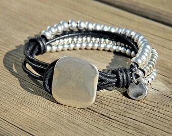Wrap Boho bracelet,wrap bracelet,leather wrap bracelet,beaded wrap bracelet,leather bracelet, silver plated,beaded bracelet,PC026