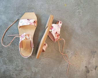 Perfect Geometry sandals in pink fish pattern, Geometric sandal, pink sandal, women sandal, leather sandal, print sandal, summer shoes,