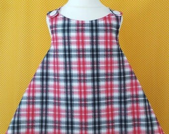 12-18 m - Pinafore -  Baby pinafore - Kidswear - Kids clothes - Apron - Girl - Boy - Cross back - Smock - Check - Red - White - Blue - Kids