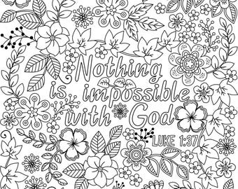 Three Bible Coloring Pages for Grown-ups; 3  Coloring  Posters with Inspiring Bible Verses