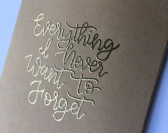 Custom Journal | Personalized Journal | Custom Quote | Never Forget | Hand Lettered | Kraft Journal