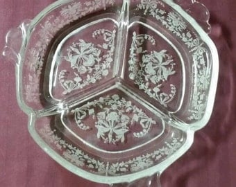 Beautiful etched, handled, divided tray. Candy dish, nut dish, trinket dish, relish tray