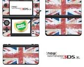 GB  Union Jack (Grunge Style) Vinyl Skin Sticker for Nintendo DS liteDSiDSi xl3DS3DS xlNew 3DS cstickNew 3DS xl cstick2DS
