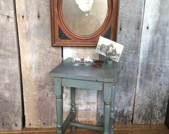 Vintage Wood Table Accent Table Distressed Old Table Side Table Blue Gray  Grey Decor Farmhouse Cottage