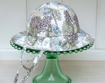 Classic baby Sunhat in Woodland Walk printed cotton