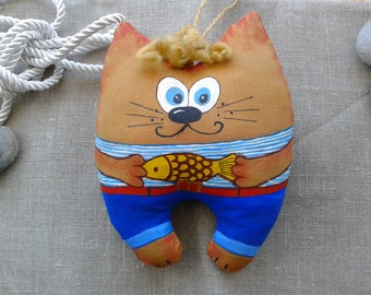 Cat seaman, Primitive toy,  Attic Toy,  Coffee toy, small gift,
