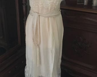 "Fabulous French 1920s Long Silk & Lace Nightgown ""Chemise de Nuit"" / Elegant Feminine and Utterly French / Great Romantic Gift For Her"