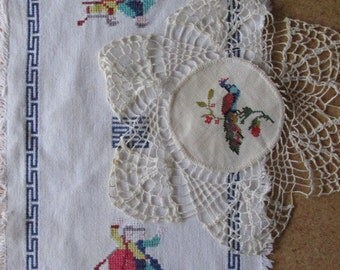 FREE SHIPPING USA Vintage Doilies Oriental Motiff,  Cross Stitch withCrocheted edging  615