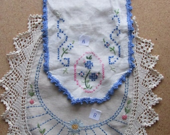 FREE SHIPPING USA Vintage doilies Hand Embroidered and Hand Crocheted Edging.  617