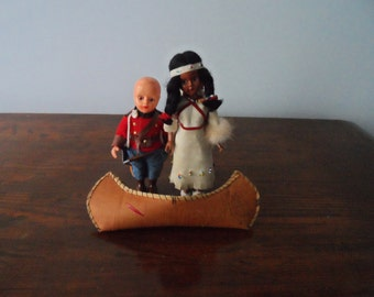 CLEARANCE  Vintage 3 Piece set  Rubber Band Dolls ; Canadian Mountie, Indian Squaw with Papoose on Back, Bark Canoe  208