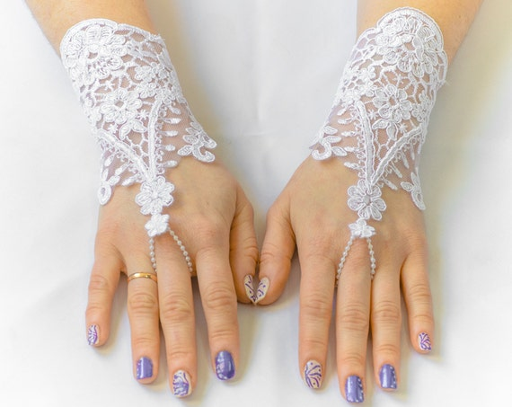Lace fingerless gloves, white wedding gloves, bridal gloves, evening gloves, prom gloves 06