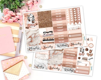 Marble N' Rose || Mini Sticker Kit, Planner Sticker Kits, Rose Gold Marble Sticker Kits, Planner Stickers, Stickers For Planners