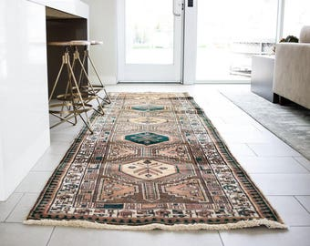 3'2X11'8 Vintage Persian runner rug Hand knotted Rug Wool Rug FREE SHIPPING