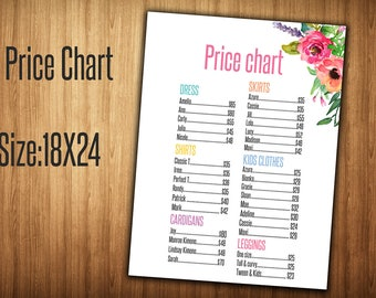 Price List - Home Office Approved Colors and Fonts - 18x24 inches - White Flowers