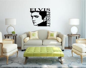 Elvis Presley Silhouette with name vinyl wall art or sticker